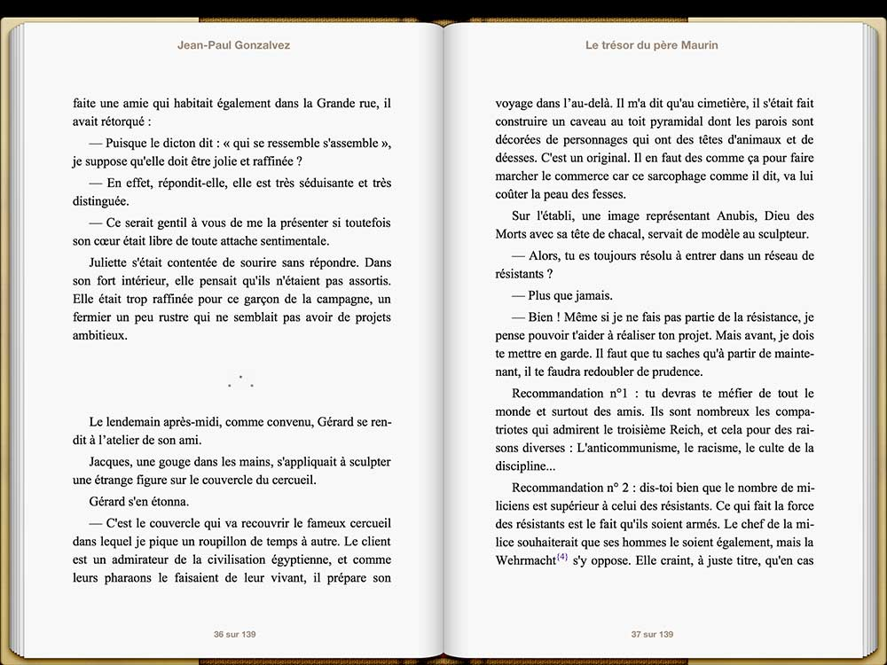 Capture écran d'un eBook sur iPad