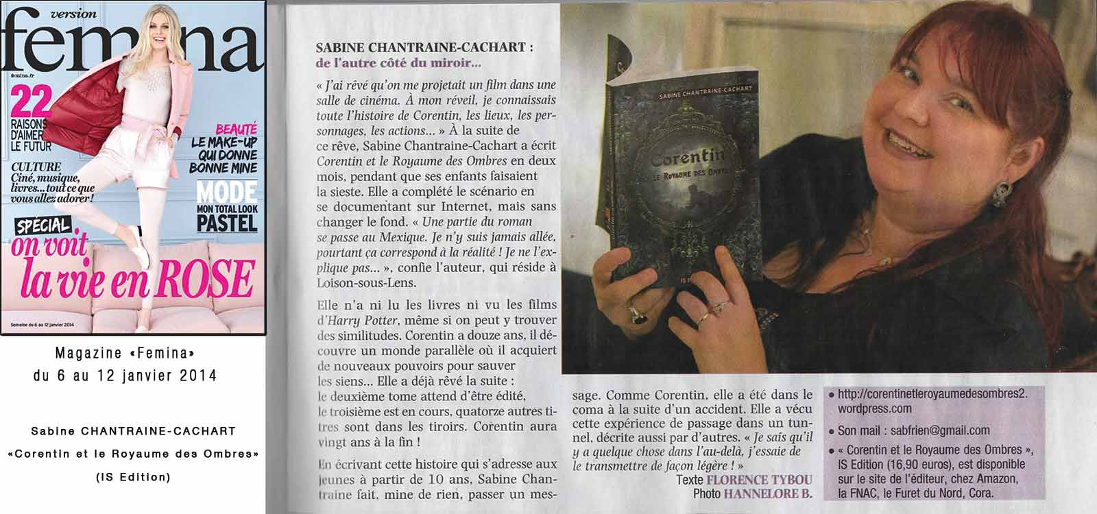 Interview de Sabine Chantraine dans le mag Femina